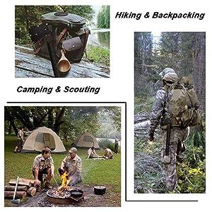248794e57274 IUNIO Camping Axe Multi-Tool Hatchet Survival Kit 17 inch Folding ...