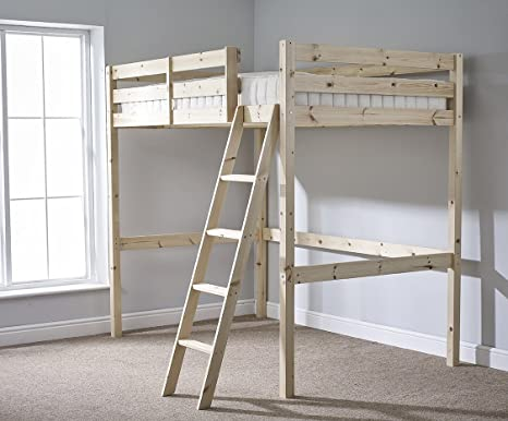 Small Double 4ft HIGH Loft bunkbed with MEMORY FOAM mattress - wooden High Sleeper by Strictly Beds Celeste Loft Bunkbed