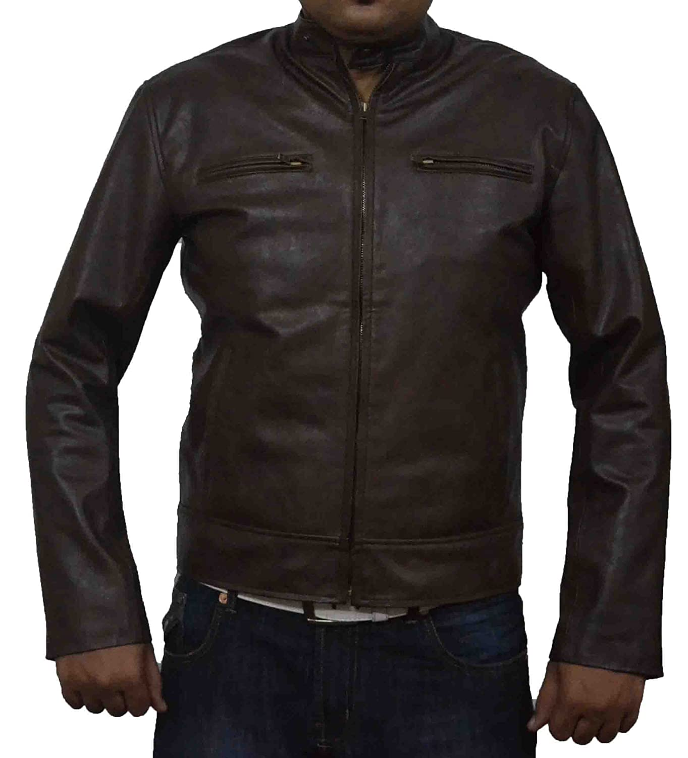 HLS Mark Welhberg Contraband Coffee Brown antique Real Cowhide Leather Jacket