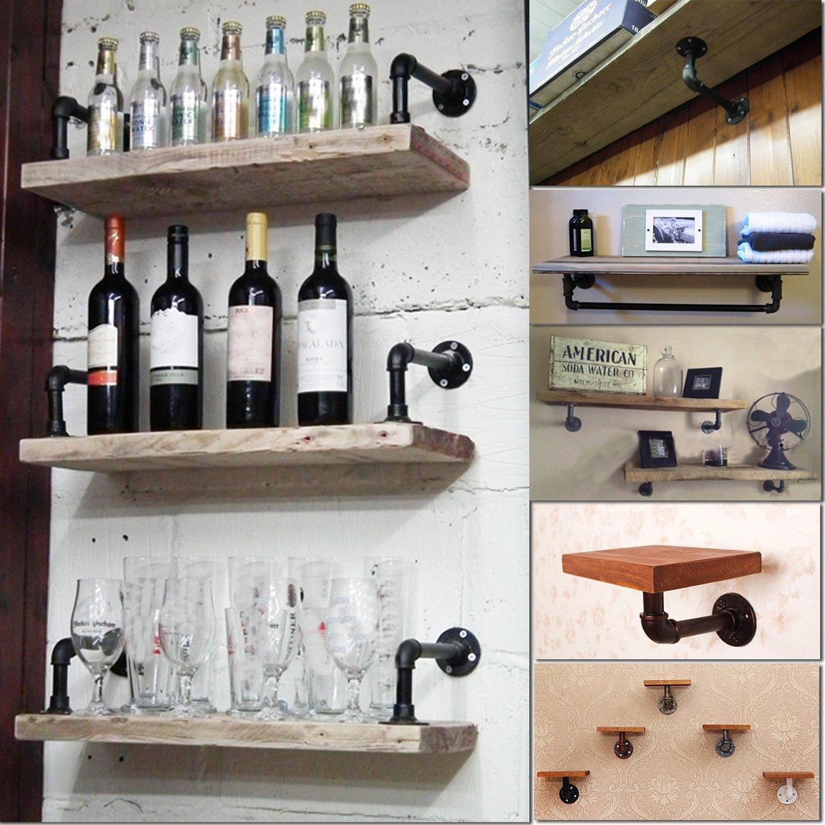 KINGSO 2Pcs Industrial Black Iron Pipe Bracket Wall Mounted Floating Shelf Hanging Wall Hardware Decor For Farmhouse Shelving Hardware Heavy Duty