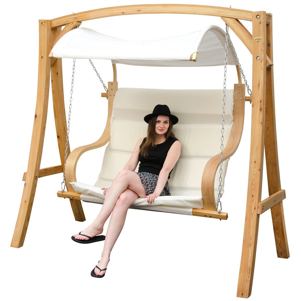 Hollywoodschaukel aus Holz Lärche | Gartenschaukel Set | Holzgestell mit 2-sitzer Bank aus Stoff inkl. Sonnendach in Beige | Für Innen und Außen günstig bestellen