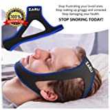 ZARU Premium Anti Snore Chin Strap [2018 Upgraded Version] - Advanced Snoring Solution Scientifically Designed to Stop Snoring Naturally and Give You The Best Sleep of Your Life! (Color: Blue.)