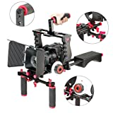 Aluminum Film Movie Kit System Rig for Canon/Nikon/Pentax/Sony and other DSLR Cameras,includes:(1)Video Cage+(1)Top Handle Grip+(2)15mm Rod+(1)Matte Box+(1)Follow Focus+(1)Shoulder Rig (Red)