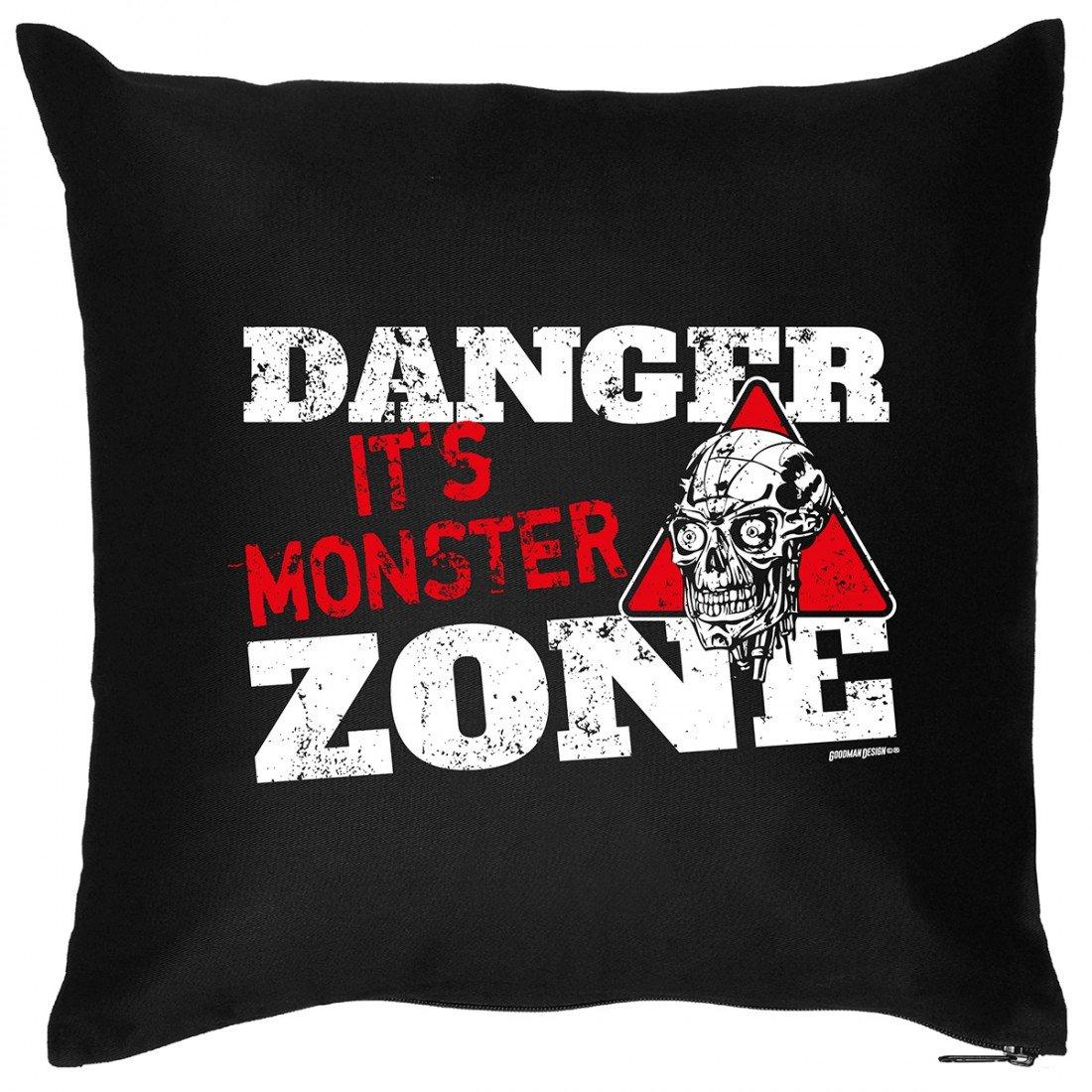 Kissen Sofakissen mit Aufdruck – Danger it´s Monster Zone – Horror Zombie Hexe Grusel Halloween Geschenk – Wendekissen günstig