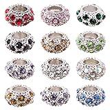 PH PandaHall 100PCS Mixed Color Alloy Rhinestone Large Hole European Beads, Platinum- 11x6mm, Hole: 5mm (Color: Mixed Color 1, Tamaño: 11x6mm)