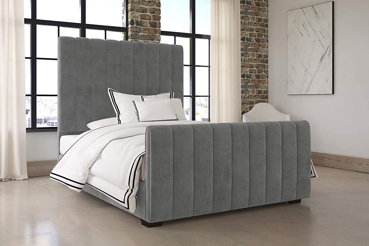 DHP Dante Upholstered Bed with Luxurious Velvet Upholstered Design, Queen Size - Grey Velvet