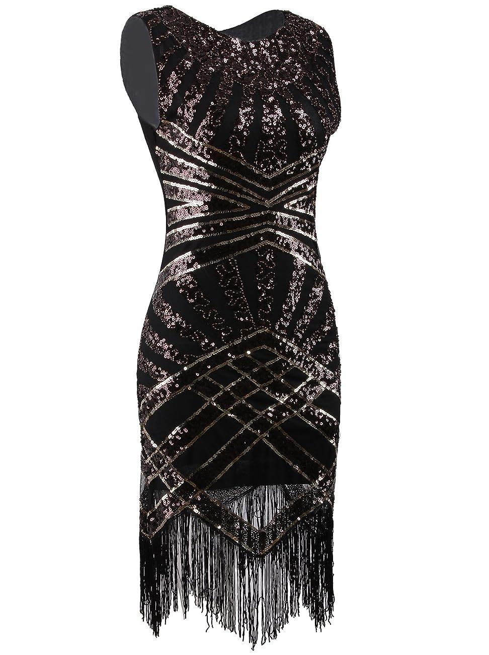 Vijiv Vintage 1920s Embellished Art Nouveau Fringe Sequin Beaded Flapper Dress 0