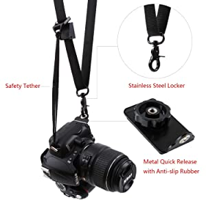 waka Camera Neck Strap Quick Release Safety Tether, Comfortable Durable Shoulder Sling Camera Strap, Black (Color: Black, Tamaño: Shoulder Neck Strap)
