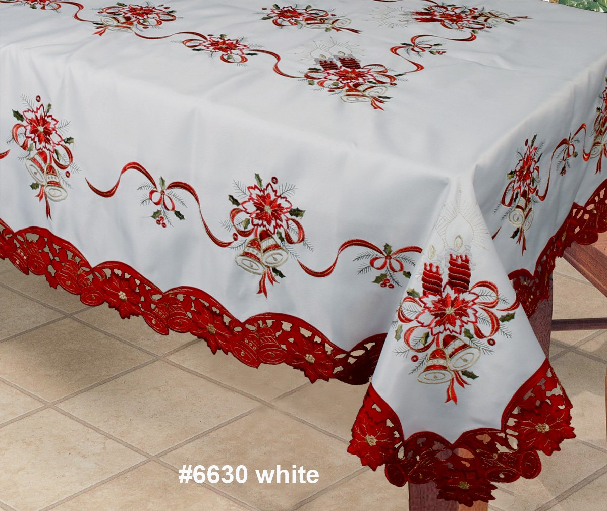 this beautiful embroidered christmas poinsettiacandlesbells tablecloth has a white background a red border it has embroidered red poinsettia