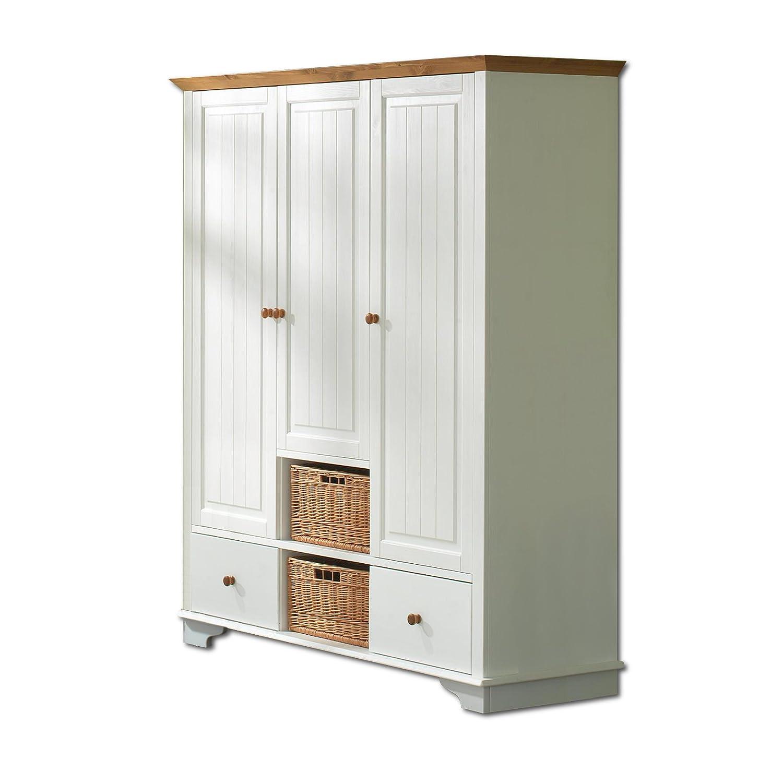 SAM® Kleiderschrank Julia 3-türig weiß lackiert Kiefernholz massiv honigfarbene Absetzungen Lieferung mit Spedition online bestellen
