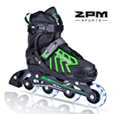 2PM SPORTS Brice Adjustable Inline Skates, Featuring Light Up Wheels, Fun Flashing Skates for Boys Kids and Youth - Green L (Color: Neon Green, Tamaño: Large - Youth (5-8 US))