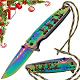 Grand Way Tactical Folding Knife - Spring Assisted Knife - EDC Outdoor Pocket Folding Knives Rainbow Stainless Steel Blade Paracord Handle - Best Urban Tourist Pocket Knife for Travel Hiking 24448 (Color: Rainbow, Tamaño: Medium)
