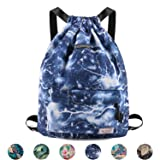 Drawstring Backpack String Bag Sackpack Cinch Water Resistant Nylon for Gym Shopping Sport Yoga by WANDF, Blue Lightning (Color: B-Blue Lightning 6032, Tamaño: One_Size)