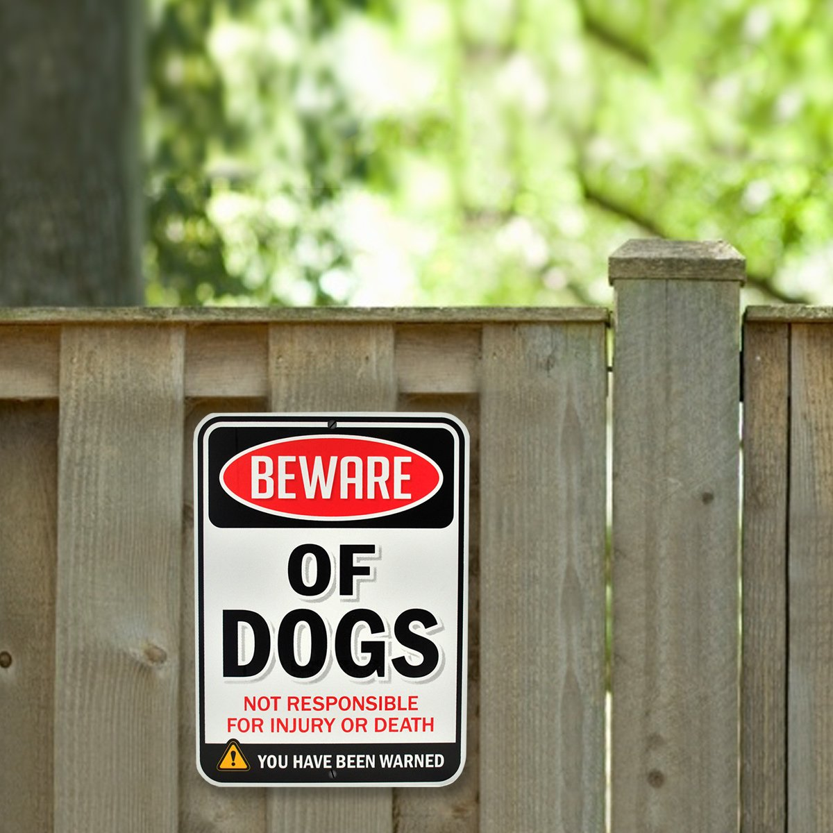 """Beware of Dogs Sign   Funny or Scary   Dibond Aluminum Metal 1/8"""" Thick for Indoor / Outdoor"""