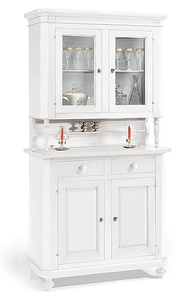 Cristalliera a 2 porte in legno finitura laccato bianco opaco