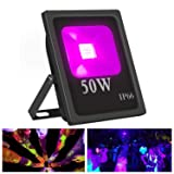 Exulight UV LED Flood Light, 50W High Power UV Ultraviolet Blacklight 85V-265V AC IP66 Waterproof for Parties,Curing, Glue, Blacklight, Fishing, Aquarium with US Plug (50W) (Color: 50w Uv Flood Light)
