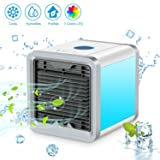 SENDOW Mini Desk Air Conditioner, USB Portable Personal Space Air Cooler Humidifier Purifier with 7 Colors LED 3 Fan Speeds, Cooling Fan for Office Home Outdoor (Color: Cooler)