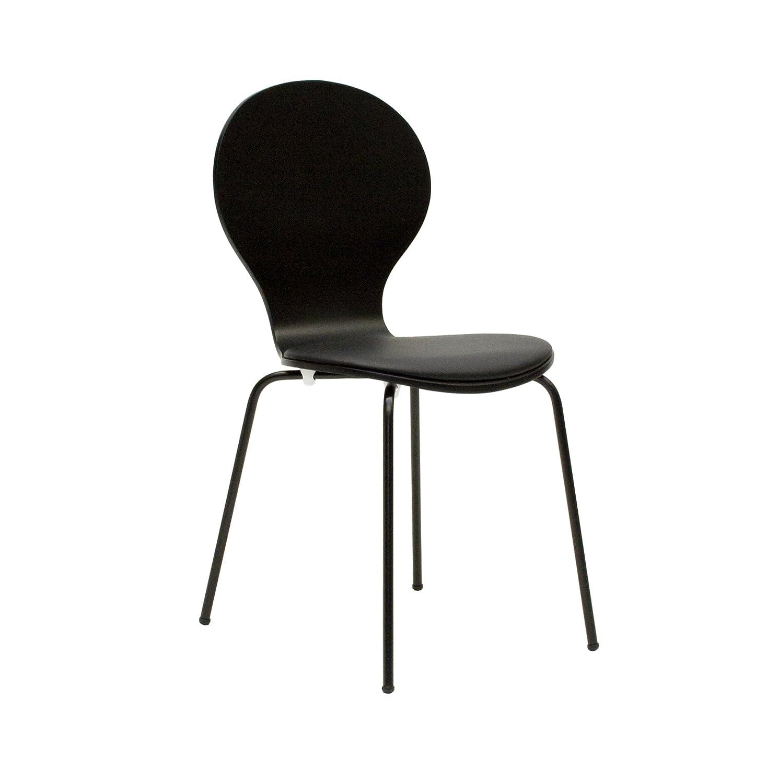 Tenzo 610-024 FLOWER 4-er Set Designer Stühle, Schichtholz lackiert, matt, Sitzkissen in Lederoptik, Untergestell Metall, lackiert, 87 x 46 x 57 cm, schwarz günstig