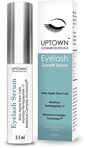 Eyelash Growth Serum for Long Eyelashes From Uptown Cosmeceuticals Contains Stem Cell & Myristoyl Pentapeptide-17, Dermatologist Lab Tested Lash & Eyebrow Growth Formula, 4 Months Supply, 3.5ml
