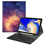 Fintie Keyboard Case for Samsung Galaxy Tab S4 10.5 2018 Model SM-T830/T835/T837, Slim Shell Lightweight Stand Cover with Detachable Wireless Bluetooth Keyboard, Galaxy (Color: Z-Galaxy)