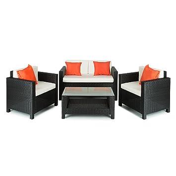 Blumfeldt Verona • Gartengarnitur • Sitzgarnitur • Sitzgruppe • Lounge • 2 x Sessel • 1 x 2-Sitzer Couch • 1 x Tisch • Poly-Rattan • Stahlrahmenbeschichtung gegen Rost • In & Outdoor • weiche, 8 c