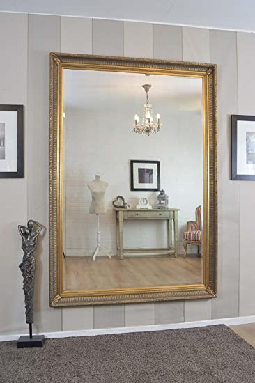 Large Gold Antique Shabby Chic Ornate Wall Mirror 6Ft8 X 4Ft8, 203 X 142cm