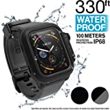 Catalyst Waterproof Apple Watch Case Series 4 44mm with Premium Soft Silicone Apple Watch Band, Shock Proof Impact Resistant [Rugged iWatch Protective case], Black/Gray (Color: Stealth Gray)