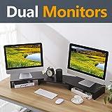 TAVR Black 3 Shelf Dual Monitor Stand Riser with Length and Angle Adjustable,Multifunctional Desktop Organizer Computer Tabletop Riser TV Stand CM1009 (Color: 3 Shelves)