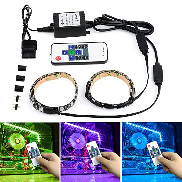 Autai Computer LED Light Strip RGB with Remote Control and Magnetic for Computer Cases PC Cases Mid Tower Case