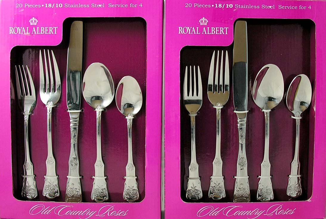 Royal Albert Old Country Roses 20 Piece Flatware Set Stainless Steel 18/10 Set of 2 Service for 8
