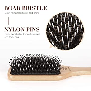 Hair Brush Boar Bristle Hairbrush for Thick Curly Thin Long Short Wet or Dry Hair Adds Shine and Makes Hair Smooth, Best Paddle Hair Brush for Men Women Kids (Color: yellow1)