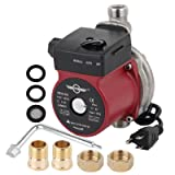 BOKYWOX 120W Hot Water Circulation Pump 3/4'' 110V Automatic Booster Water Pump For Solar Heater System(stainless steel red) (Color: stainless steel red)