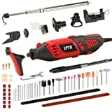 SPTA Professional Rotary Tool Kit with Heavy Duty 170W/1.4A Electric Motor, Universal 3-Jaw Chuck, 10 Attachments & 125 Accessories for Carving and Grinding (Color: 135Pcs Rotary Tool)