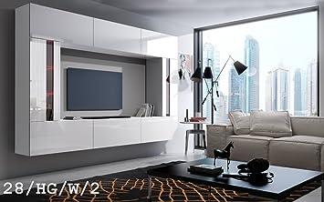 FUTURE 28 Moderno Conjunto De Muebles De Salón, Módulo Bajo Para TV Y Multimedia, Exclusiva Unidad De Entretenimiento, Mueble TV, Suite A Estrenar, Gran Variedad De Colores (Iluminación RGB LED Opcional) (28_HG_W_2, RGB remoto)