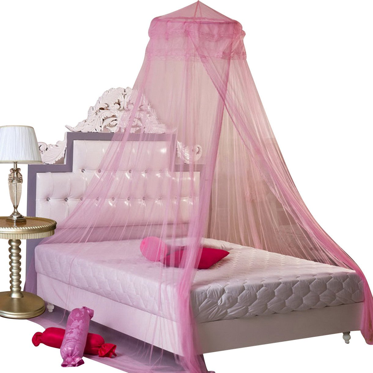 new round lace curtain dome bed canopy netting princess. Black Bedroom Furniture Sets. Home Design Ideas