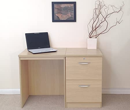 Home Office Furniture UK SET-04-IN-BE Desk Drawer Unit Laptop Table Filing Cabinet Kids Small Set, Wood, Beech, Wood Grain Profile
