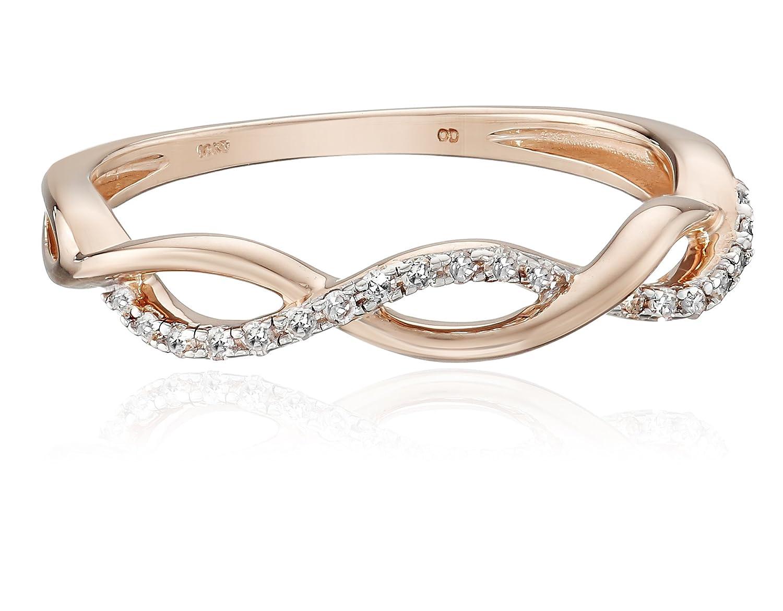 10k Gold Diamond 1/10 cttw Twist Ring, Size 7