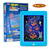 Obuby Kids Magic Pad Light Up Glow Drawing Board LED Draw Sketch Tablet for Art Write Learning which Includes Fun Guide Stencils, Glow Boost Card, Cleaning Cloth (Color: Blue)