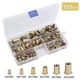 AUTOUTLET 150PCS Rivet Nuts Tool Kit Steel Yellow Zinc Plated Threaded Rivnut Nutsert Insert Set M3 / M4 / M5 / M6 / M8 / M10 (Tamaño: A)