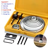 21pcs Carbon Steel Hole Saw Sets kit,Normal Wood, Plywood, Drywall, PVC Board and Plastic Plate, Hole Saws with Mandrels, Hex Key and Install Plate, Cut Diameter 3/4