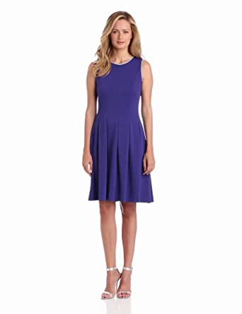 Nine West Dresses Women's Ponte Seamed Dress, Grapesicle, 14
