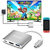 USB C to HDMI Hub Dock for Nintendo Switch, JAVONTEC USB Type C HDMI Adapter Converter with 4K HDMI, USB 3.0, Power Delivery Compatible with MacBook Pro, HP Spectre, Samsung S8/Note 8, Silver (Color: Gray, Tamaño: small)