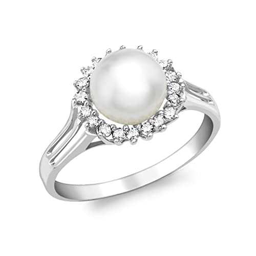Carissima Gold 9ct White Gold Diamond and Pearl Ring