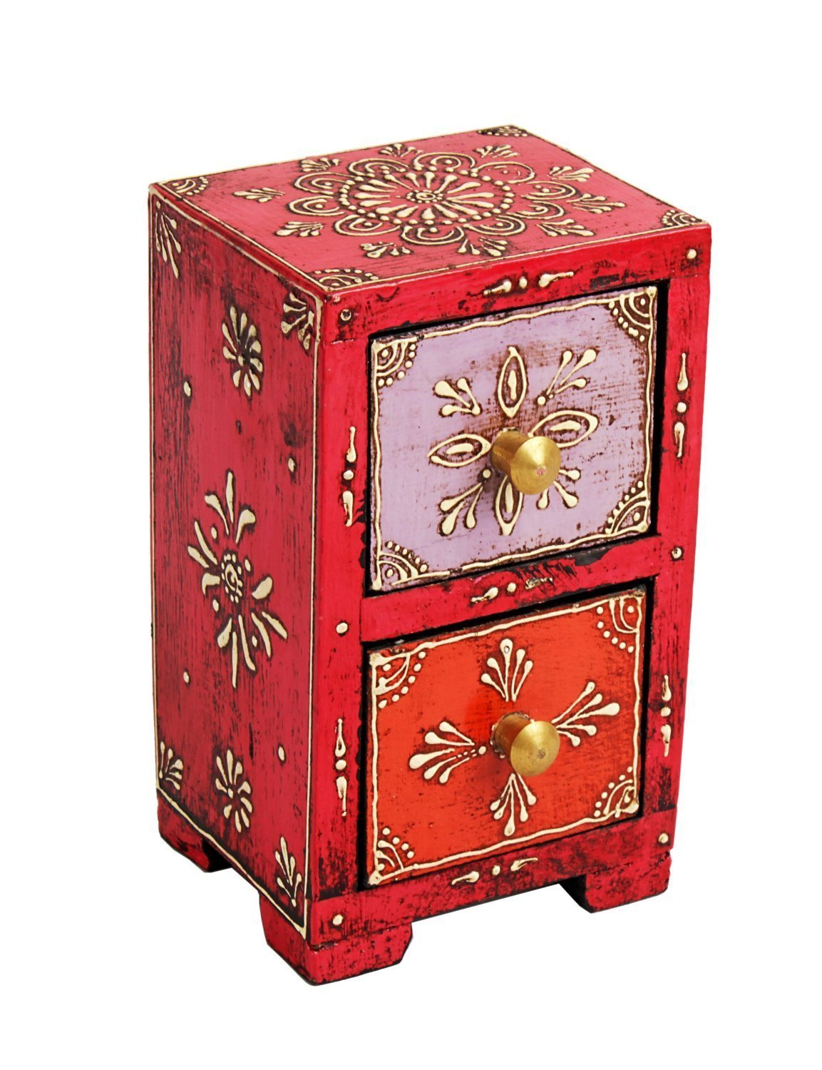 Vibrant Chest of 2 Drawers Hand Painted Wooden Jewelry Trinket Storage Organizer Multi-purpose Holder
