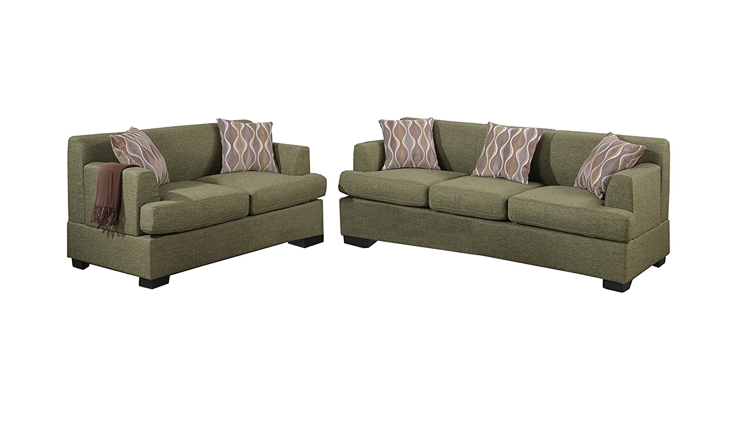 Poundex Bobkona Baldwin Blended Linen 2-Piece Sofa and Loveseat Set - Peridot