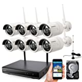 ONWOTE 1080P Full HD Wireless Security Camera System with 2TB Hard Drive, 8 Channel 1080P NVR, 8Pcs 1080P 2.0MP IP Cameras, 80ft IR Night Vision, Built-in Router, IP66 Waterproof, Wifi Booster Antenna (Color: 8CH 1080P NVR 2TB HDD + 8 1080P White Cameras, Tamaño: 1080P HD Kit-White)