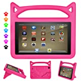 F ir e HD 8 Tablet Case, F ir e HD 8 Case-Dinines Light Weight Shock Proof Handle Kid Proof Cover Kids Case for F ir e HD 8 Tablet(8th/7th/6th generation,2018/2017/2016 Realease) Pink (Color: Pink)