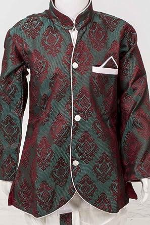 BYK2029 Vert et ivoire garçons Kurta Pyjama: (*_*) Discount