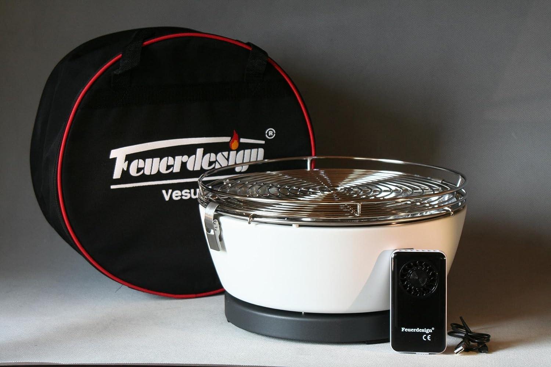 Feuerdesign VESUVIO Höllenheißer Tischgrill Picknickgrill Bootsgrill mit Akku-Lüfter Farbe CREMEWEISS kaufen