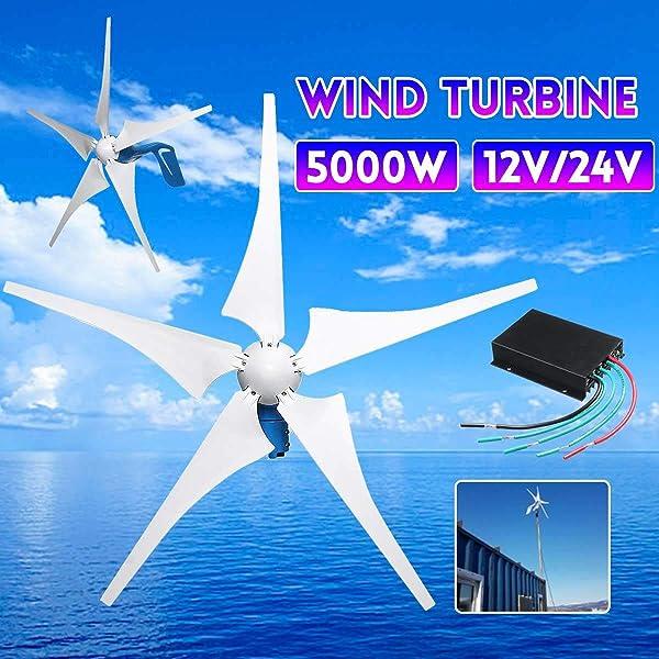 TQ 5000W Wind Generator 12V/24V 5 Wind Blades Wind-Power Electricity Generator with Controller Wind Turbine Blade,12v (Color: 12V)